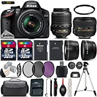 Nikon D3200 DSLR Camera in Black + Nikon 50mm 1.4 G Lens + 0.43X Wide Angle Lens + 2.2x Telephoto Lens + 64GB Storage + UV-CPL-FLD Filters + UV Filter + Tripod - International Version
