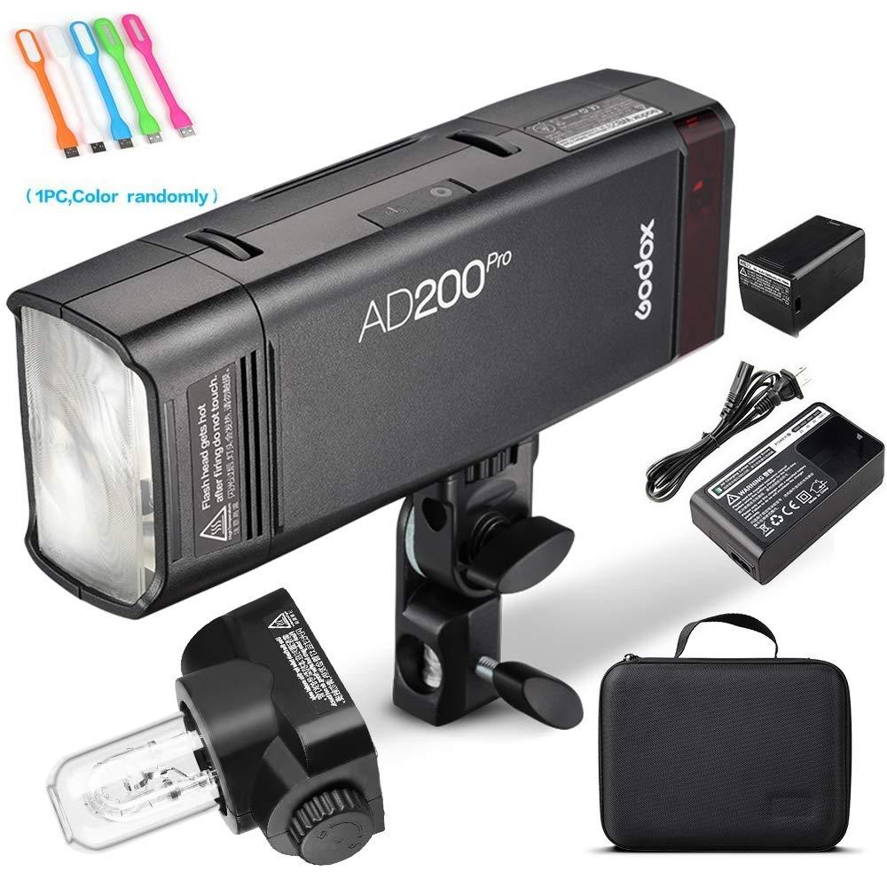 Godox AD200Pro 200ws 2.4G TTL Speedlite Flash Strobe 1/8000 HSS Monolight,500 Full Power Flashes, 2900mAh Battery,0.01-2.1s Recycling, Bare Bulb/Speedlite Fresnel Flash Head (AD200 Upgrade Version)
