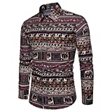 2018 New Men's Shirt Ethnic Style Wild Colors Korean Version Long-Sleeved Tops Comfortable Soft Fashion Casual Slim Plus Size Men's Clothing (Color : 1, Size : M)