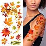 Supperb Flower & Autumn Leaves Temporary Tattoos Gorgeous Color Tattoos (Fall In Love)