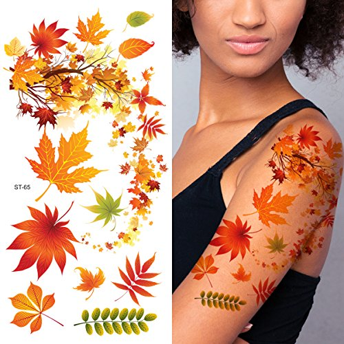 Supperb Flower & Autumn Leaves Temporary Tattoos Gorgeous Color Tattoos (Fall In Love) -