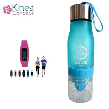 Botella de Infusion de fruta + podómetro – Botella Infuser de frutas sin BPA – Exprimidor