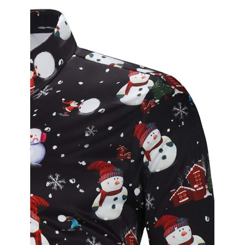 Fashion Print Xmas Snowflakes Santa Pattern Button Up Shirt Top 2XL-3XL TOOPOOT New Men Christmas Blouse