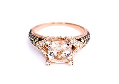 eba7f96ceb0bad LeVian Ring Peach Morganite Chocolate and Vanilla Diamonds 2 cttw 14K Rose  Gold New