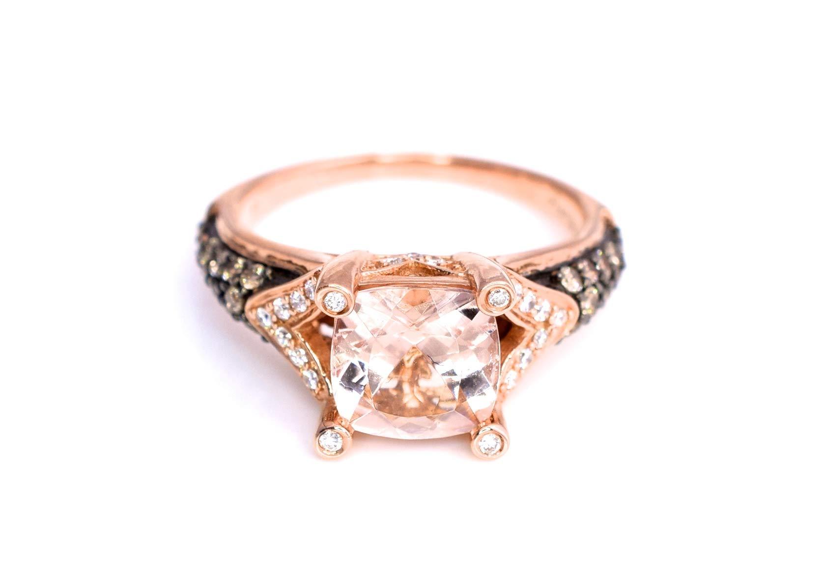 LeVian Ring Peach Morganite Chocolate and Vanilla Diamonds 2 cttw 14K Rose Gold New