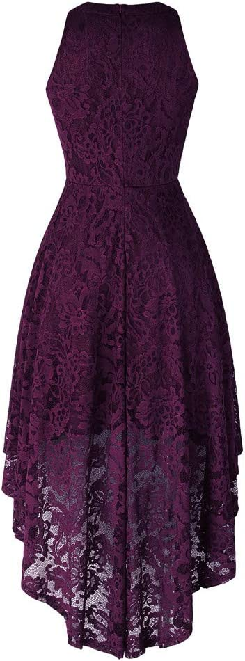Formal Dresses For Girls Womens Sleeveless Halter Floral Lace Solid Vintage Country Rock Cocktail Dress For Anniversary,Party,Valentines Day Purple,M