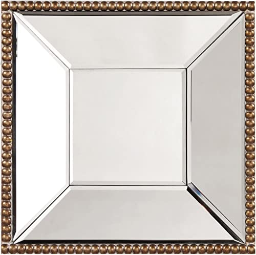 Howard Elliott Lydia Square Hanging Wall Accent Mirror, Antique Gold, 12 x 12 Inch