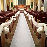 Healon Wedding White Aisle Runner 100 x 3 ft with Floral Print and Pull String