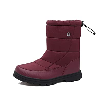 540a2926f4ab2b EXEBLUE Men Women's Winter Snow Boots,Unisex Water-Resistant Mid Calf Boots  with Fur Lining Outdoor
