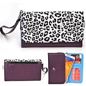 EXXIST® Metro Safari Series. Faux Leather Clutch / Wallet for iNew V3 (Color: White Leopard / Purple) -ESMLMTL1