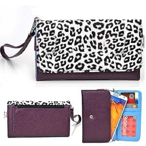 EXXIST® Metro Safari Series. Faux Leather Clutch / Wallet for Alcatel One Touch Fierce 7024W (Color: White Leopard / Purple) -ESMLMTL1