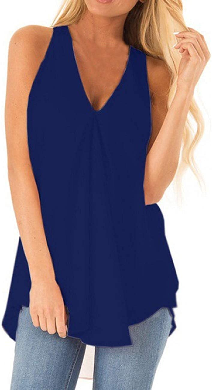 FAPIZI Women Chiffon Tank Top Ruched Sleeveless T-Shirt Fashion V Neck Solid Casual Loose Flowy Summer Blouse