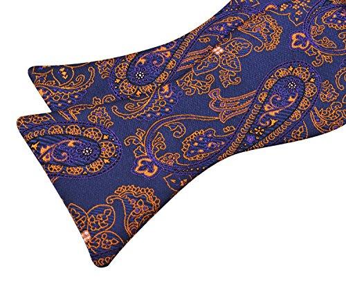 Handmade orange2 and Dark Tie Mens Hanky Bow Paisley Alizeal Set Purple 6x1TwqB57