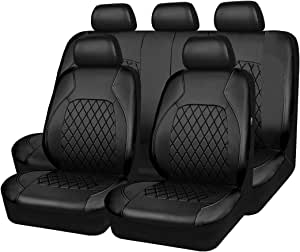 CAR PASS Fundas universales de piel sintética para asientos de coche, 11 unidades, compatibles con airbag, transpirables