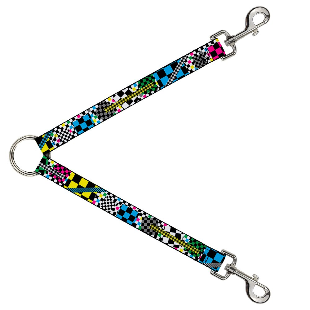 Buckle-Down DLS-W30605 Leash Splitter-Funky Checkers Black White Neon, 1  W-30  L