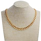 Adecco LLC Gold Chain Necklace, Ultra Luxury Look& Feel Real Solid 14k Gold plated Curb Fake Chain Necklace 10mm Larger Image