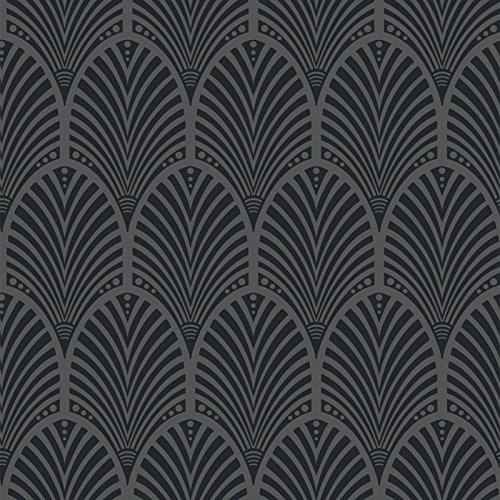 Gatsby Art Deco Wallpaper Charcoal Holden Decor 65250 (Wallpaper Art Deco)