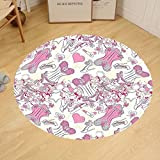 Gzhihine Custom round floor mat Girly Decor Lady Sitting in front of French Cosmetic Make-Up Mirror Furniture Dressy Design Picture Bedroom Living Room Dorm Decor Pink Yellow