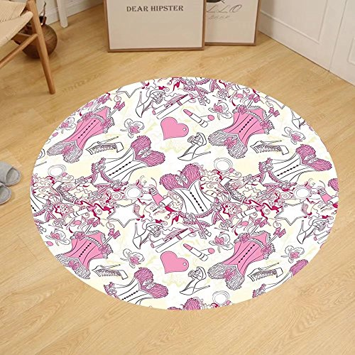 Gzhihine Custom round floor mat Girly Decor Lady Sitting in front of French Cosmetic Make-Up Mirror Furniture Dressy Design Picture Bedroom Living Room Dorm Decor Pink Yellow by Gzhihine