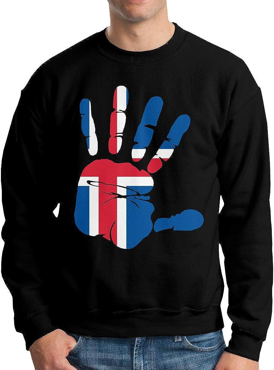 LLiYing-D Handprint Flag of Iceland Adult Mens Sports Long Sleeve Sweater T Shirt