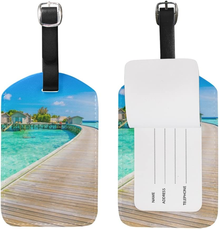 Chen Miranda Beautiful Water Villas Luggage Tag PU Leather Travel Suitcase Label ID Tag Baggage claim tag for Trolley case Kids Bag 1 Piece