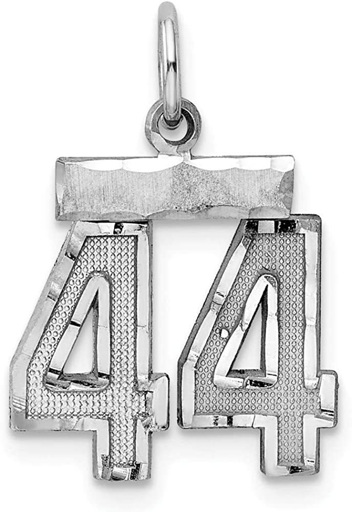 20mm x 14mm Solid 925 Sterling Silver Small Number # 44 Charm Pendant