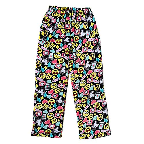 Popular Girl's Fuzzy Fleece Pajama Pants - Emoji Cluster - ()