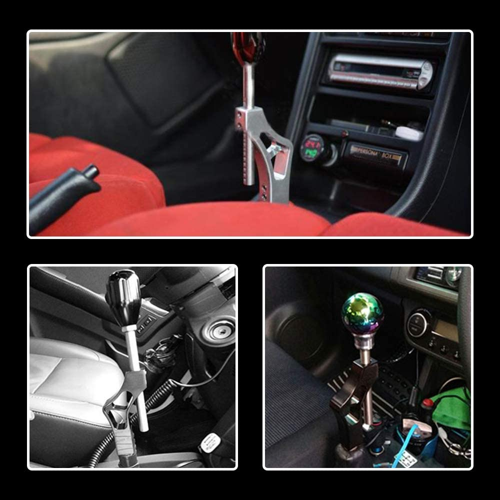 RYANSTAR RACING Shift Knob Extension Adjustable Height Lever Silver with 4 Adapter Aluminum Universal