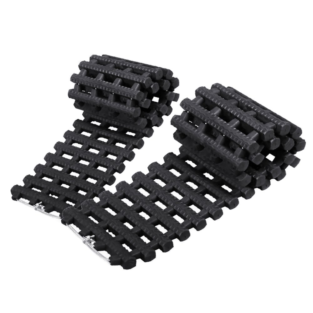 Mr.Go All Weather Vehicle Emergency Traction Aid - Durable Heavy Duty Automobile Car Tyre Tire Grip Recovery Tracks Traction Mat Pad - Get Unstuck from Off-road Mud, Snow, Ice, and Sand - 2 Pack - Black //
