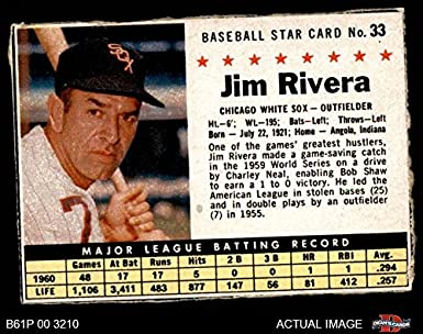 1961 Post Cereal   33 BOX Jim Rivera Chicago White Sox (Baseball Card) ( 71855cf14c0c