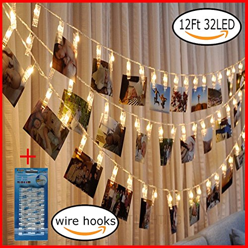 LED Photo Hanging Clips String Light(12 Ft, Battery Powered,