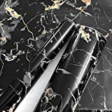Black Granite Look Marble Gloss Film Vinyl Self Adhesive Counter Top Peel and Stick Wall Decal 24''x60''