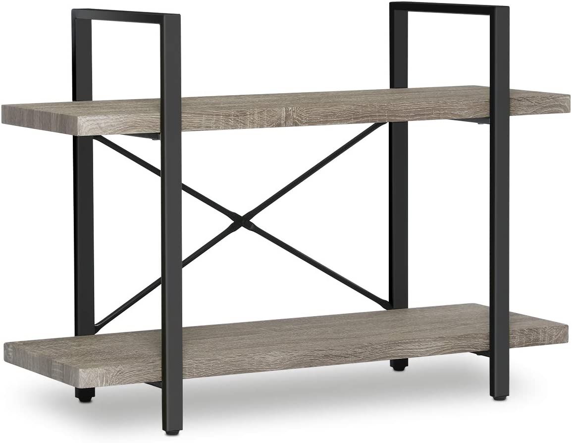 Rustic Wood Etagere Bookcase Open Storage Book Shelves with Metal Frame Accent Furniture Shelving Unit for Home Office KINGSO 2-Tier Industrial Bookshelf