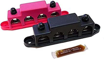 "BLACK bus bar 250A 48Vdc Power Junction Block 4 Post Busbar 5//16/"" Studs"