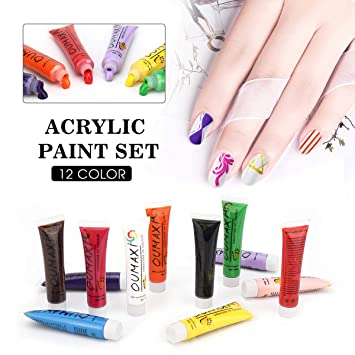 Amazon 12 Colors Acrylic Paint Set Saviland 3d Nail Painting