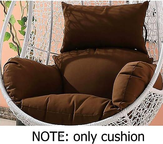 Qiaogth Impermeable Cojines de Silla sin Base del oscilación, Patio Jardín Mimbre Colgante Huevo Cojín de Rota Silla Hamaca-marrón: Amazon.es: Hogar