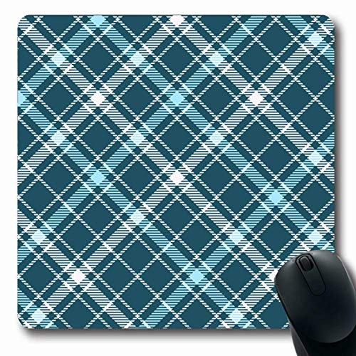 Ahawoso Mousepads for Computers Drapery Blue Border Tartan Plaid Pattern Checkered British Green Check Country Design Sash Oblong Shape 7.9 x 9.5 Inches Non-Slip Oblong Gaming Mouse -