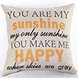 NEW BARLEY Letter Design Throw Pillow Cover Pillow Case 18 x 18 Inch Cotton Linen for Sofa (You Are My Sunshine)