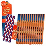 Ner Mitzvah 12-Pack Braided Havdalah Candle - Extra Large 15-Inch Red, Blue and White Paraffin Wax - Handcrafted Havdallah Candle - Shabbat Judaica Gift
