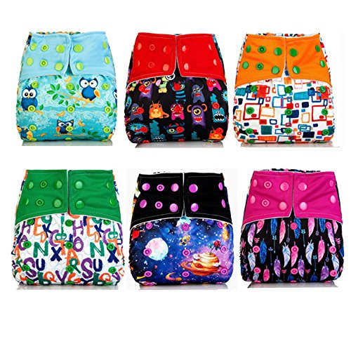 Baby Diapers, Sinbadteck Baby Cloth Pocket Diapers Nappy, 6 pcs + 6 Inserts + 1 Free Wet/Dry Diaper Bag (6PK)