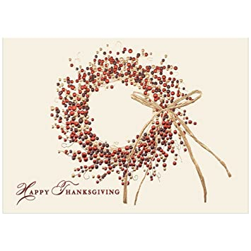 Jam Paper Blank Thanksgiving Card Sets Happy Thanksgiving Wreath Cards 25 Pack