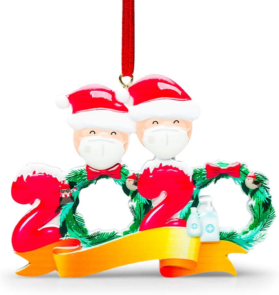Nmoder 1 Pack 2020 Personalized Christmas Ornaments Kit, 2 Family Members Creative Gift Christmas Decorations for Home Indoor Outdoor Christmas Decor