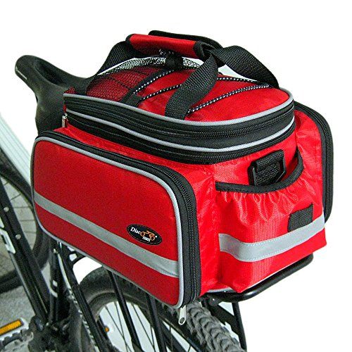 Disconano® Waterproof Multi Function Excursion Cycling Bicycle Bike Rear Seat Trunk Bag Carrying Luggage Package Rack Pannier with Rainproof Cover (Red)