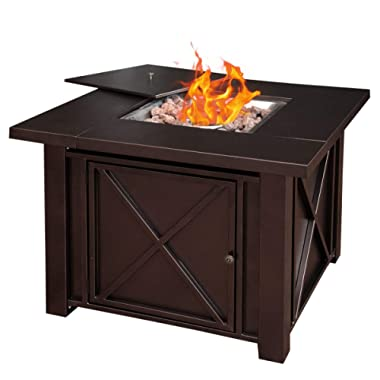 Giantex 38  Propane Gas Fire Pit Table 40,000 BTU/H Outdoor Square Fire Table W/Lid Cover, Lava Rock Tempered Tabletop Fireplace