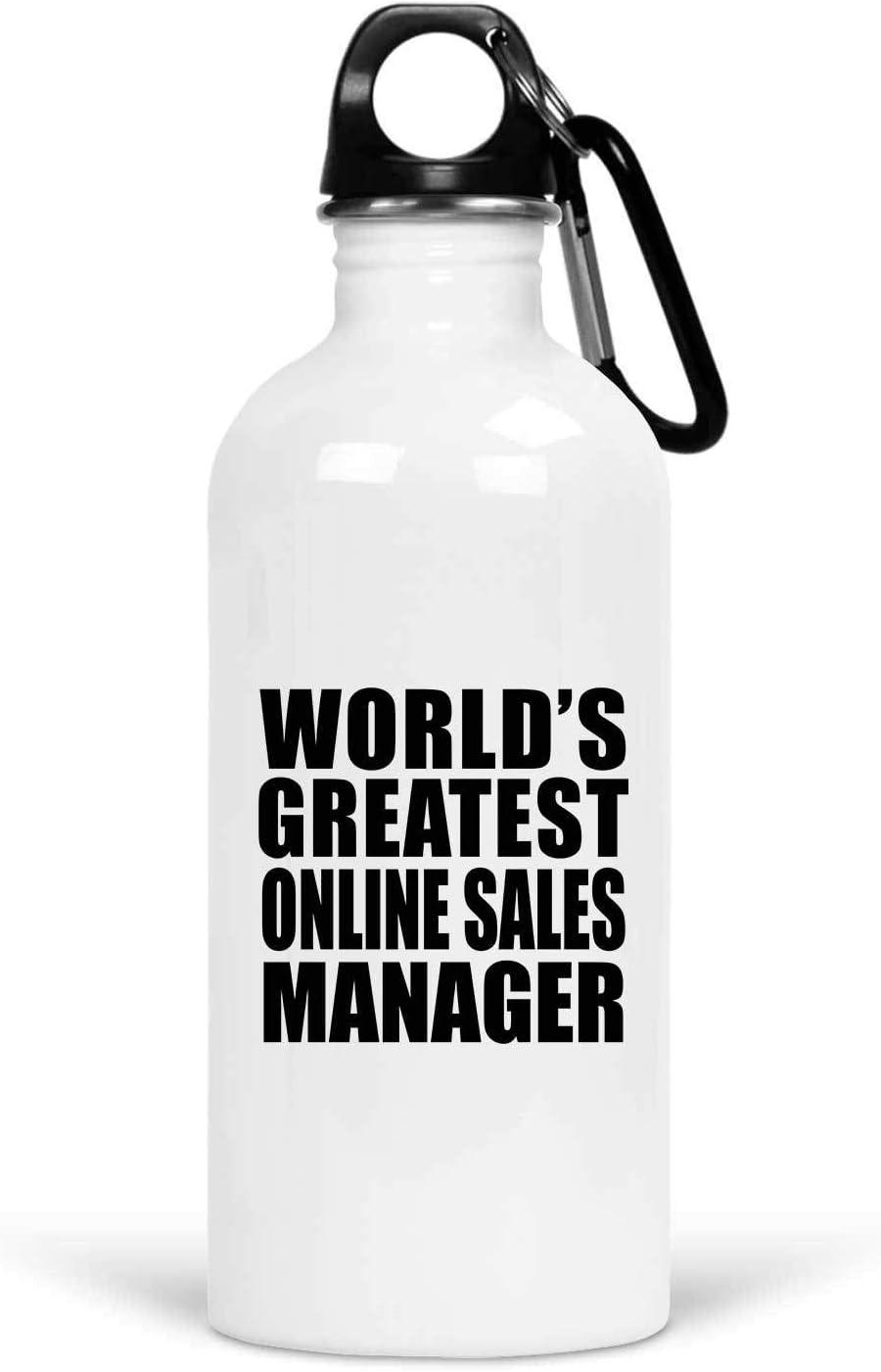 Designsify Worlds Greatest Online Sales Manager - Water Bottle Botella de Agua, Acero Inoxidable - Regalo para Cumpleaños Aniversario el Día de la Madre o del Padre