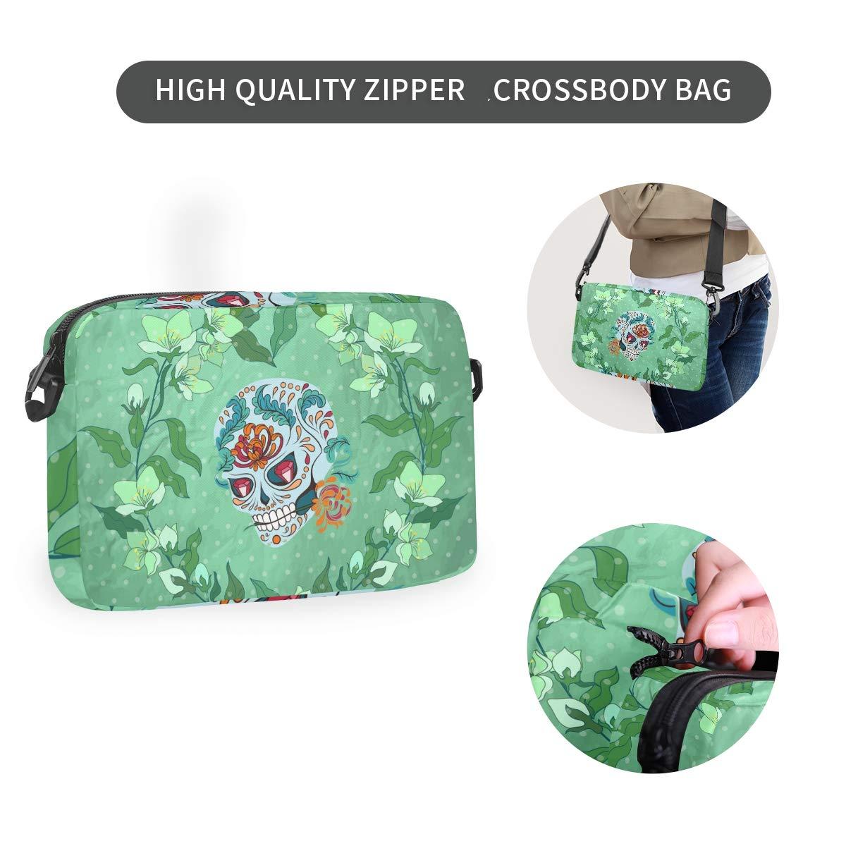 Green Skull Flower Shoulder Backpack Messenger Crossbody Laptop Bag Student Bookbags for Kid Girls Boys
