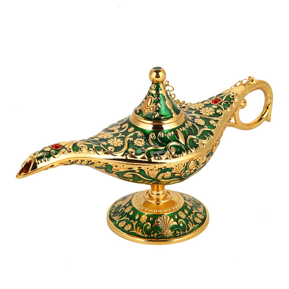 Retro Metal Fiaba Aladdin Magia Genie Teiera Lampada a olio Home Decoration Table blu trasparente Magic Aladdin Lamp