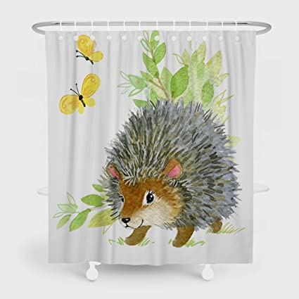 Shower CurtainCute Hedgehog Watercolor Est Animal Illustr Pattern Bathroom Waterproof Fabric 72 Inches Long