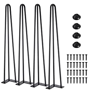 "SMARTSTANDARD 28"" Heavy Duty Hairpin Coffee Table Legs (Set of 4), Metal Home DIY Projects for Furniture, with Bonus Rubber Floor Protectors, Black"