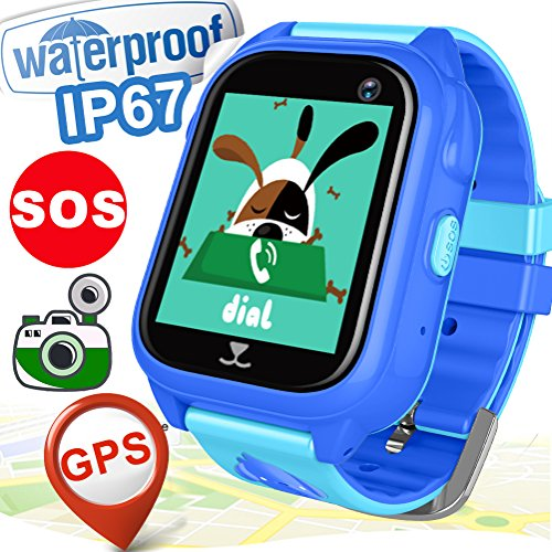 Kid Smart Watch Phone GPS Tracker for Girls Boys with SIM IP68 Waterproof Fitness Tracker with Pedometer SOS Camera Anti-lost Game Watch Summer Outdoor Birthday Gift Sport Watch for iOS/Android
